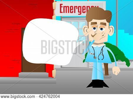 Funny Cartoon Doctor Holding His Nose Because Of A Bad Smell. Vector Illustration. Health Care Worke