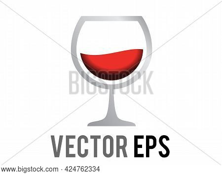 The Isolated Vector Alcohol Drink Red Wine Icon Served In Stemmed Glass