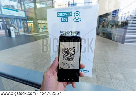 Melbourne, Australia - Jun 24, 2021: Check In Using Qr Code When Entering A Shopping Mall
