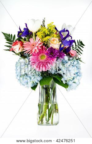 Bouquet Of Colorful Flowers In A Glass Vase.