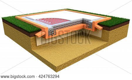 Insulated Reinforced Cement Slab Basement. Isolated Concept Industrial 3d Rendering