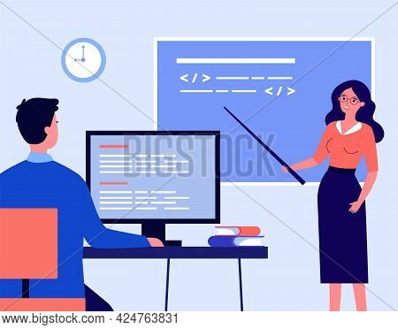 Teacher Leading Lesson Flat Vector Illustration. Woman Standing At Blackboard With Pointer And Stude