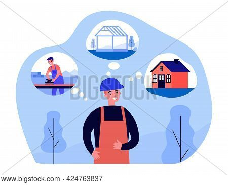 Constructor Thinking About Stages Of Building House. Man In Helmet Planning Work Process Flat Vector