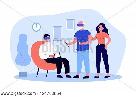 Adult Children Showing Elderly Father Virtual Reality Glasses. Flat Vector Illustration. Son And Fat