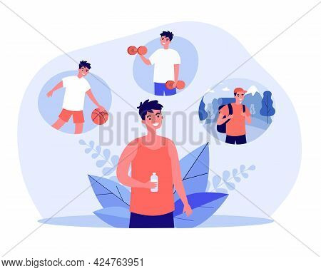 Sportsman Holding Bottle Of Water And Thinking About Sports. Man Dreaming Of Playing Volleyball, Lif