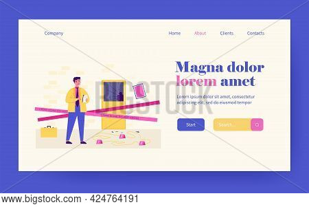 Thinking Young Detective Standing At Crime Scene Near Dead Body White Line Flat Vector Illustration.
