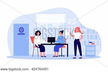 Sad Woman In Consultation With Lawyer Flat Vector Illustration. Female Person Sitting In Office And