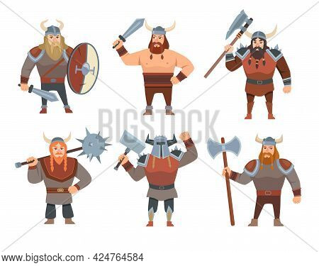 Cartoon Vikings Vector Illustrations Set. Medieval Soldiers, People In Costumes Or Warriors Isolated