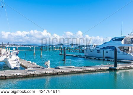 Auckland New Zealand - June 17 2021;marina Piers And Luxury Boats Form Foreground From Stanley Bay F