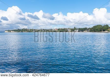 Idyllic Bay And View Across To Residential Homes Close To Shore In Takapuna Auckland New Zealand.