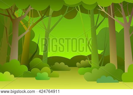 Forest Trees Background. Glade In The Thicket. Beautiful Green Summer Landscape. Flat Design. Cartoo
