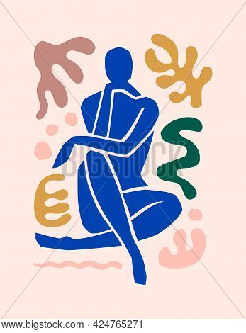 Matisse-inspired Abstract Art Of The Female Figure And Organic Shapes In A Trendy Minimalist Style.
