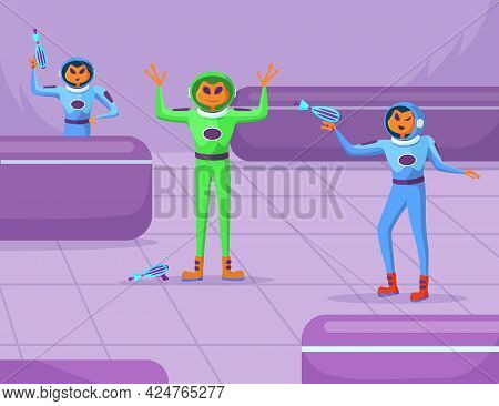 Cartoon Aliens Characters With Guns Staging Robbery In Store. Scared Newcomer In Spacesuit Raising H