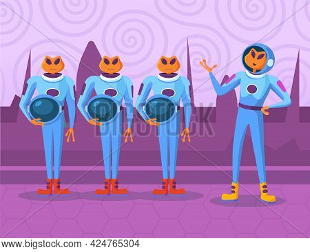 Cartoon Aliens Characters Standing And Listening To Order Of Chief. Orange Newcomers In Spacesuits D