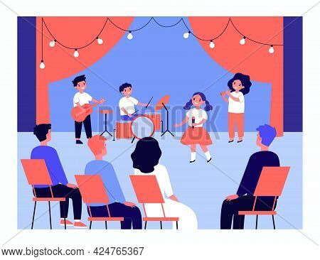 Childrens Music Group Performing On Stage. Kids Singing, Playing Guitar, Drums And Pipe In Front Of
