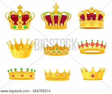 Golden Crowns Vector Illustrations Set. Accessory For Royals, King, Queen, Prince Or Princess Isolat