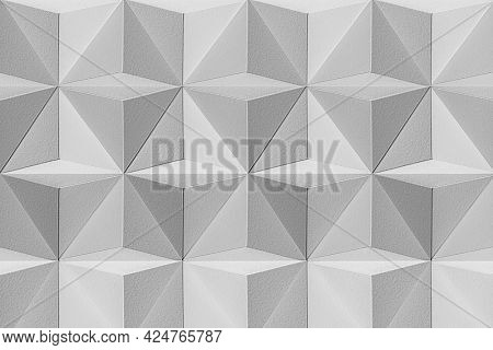 3D gray paper craft tetrahedron patterned background