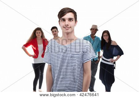 Man Standing In Front Of His Friends On White Background