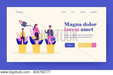 Career Training Concept. Employees Standing In Flowerpots, Hand Watering Plants And People. Vector I