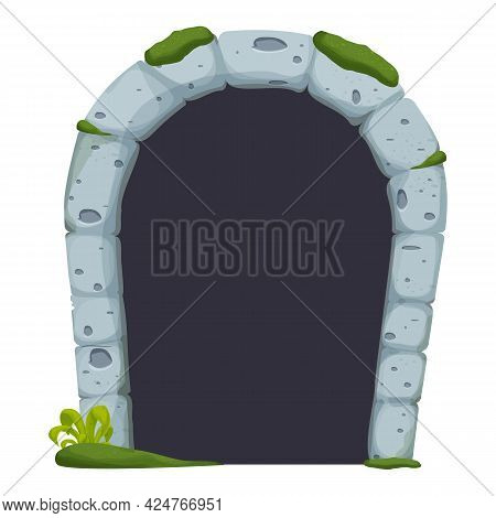 Stone Castle Arch Door, Ruined With Moss, Grass Comic In Cartoon Style Isolated On White Background.