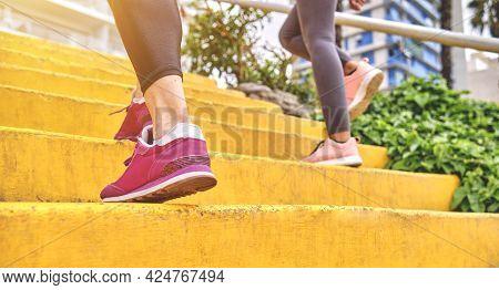 Runner Team, Running Shoes Closeup, Selective Focus