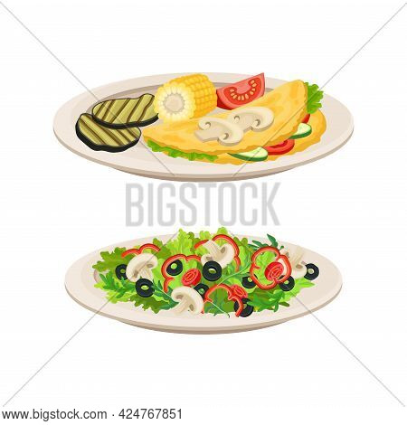 Vegan Dish And Main Course With Vegetable Salad Vector Set