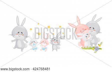 Rabbit Family With Bunny Mom And Dad Nursing And Embracing Their Cub Vector Set