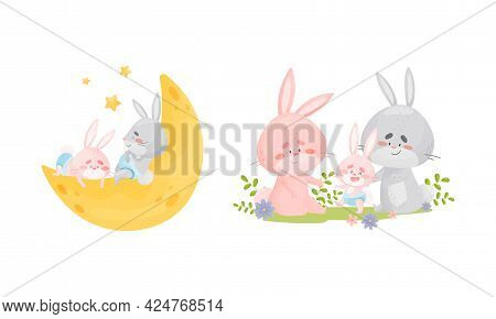 Rabbit Family With Bunny Mom And Dad Nursing Their Cub Vector Set
