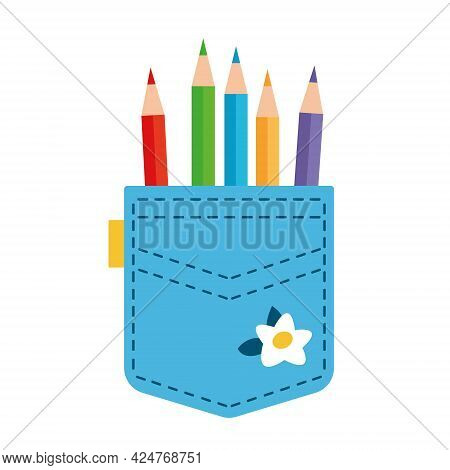 The Pencils In The Blue Pocket Are Sticking Out. Clothing Of An Engineer Or Accountant, Architect, A