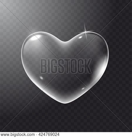 Realistic Transparent White Vector Soap Bubble Shaped As Heart. Romantic Glossy Soapy Heart. Valenti