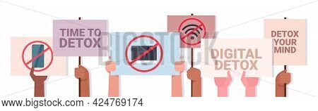 Mix Race Activists Hands Holding Posters With Gadgets In Red Prohibition Signs Digital Detox Concept