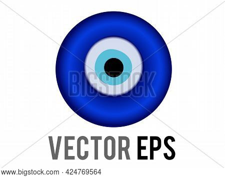 The Isolated Vector Nazar Amulet Blue Eye Shaped Icon, Represent Eyes, Various Senses Of Looking, Ch