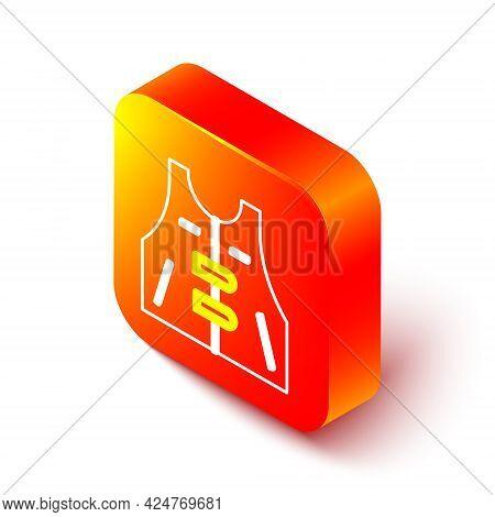 Isometric Line Hunting Jacket Icon Isolated On White Background. Hunting Vest. Orange Square Button.
