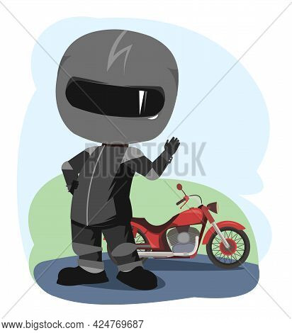 Biker Cartoon. Child Illustration. Waving Hand. Sports Uniform And Helmet. Cool Motorcycle. Chopper