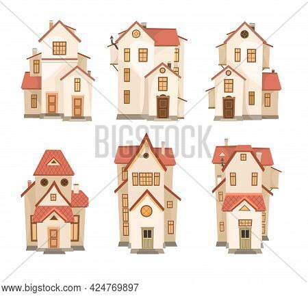 A Set Of Cartoon White Houses With A Red Roof. A Beautiful, Cozy Country House In A Traditional Euro