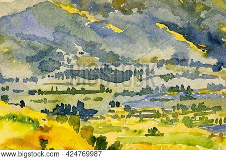 Abstract Contemporary Art For Background Watercolor Painting Colorful Of Mountain Natural Yellow Blu