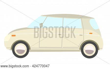 Car. Cartoon Comic Funny Style. Side View. Beautiful White Automobile. Auto In Flat Design. Children
