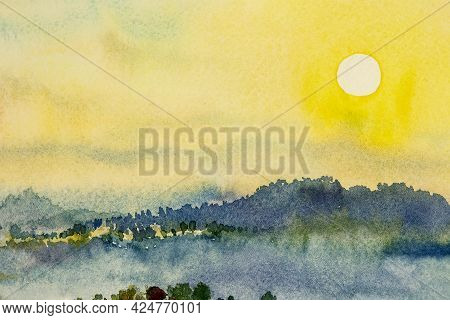 Watercolor Landscape Paintings Colorful Mountain Sunset And Sky Cloud In Abstract Background, Painti
