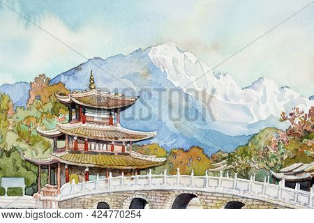 Watercolor Paintings Landmark Black Dragon Pool. It's A Famous Pond In The Scenic Jade Spring Park O