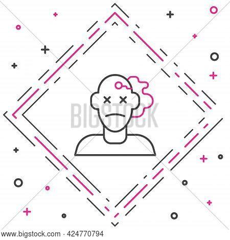 Line Murder Icon Isolated On White Background. Body, Bleeding, Corpse, Bleeding Icon. Concept Of Cri