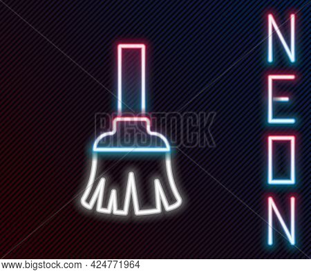 Glowing Neon Line Feather Broom For Cleaning Icon Isolated On Black Background. Feather Duster. Colo