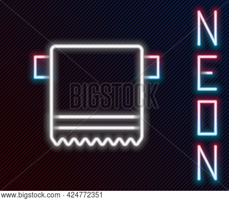 Glowing Neon Line Towel On Hanger Icon Isolated On Black Background. Bathroom Towel Icon. Colorful O