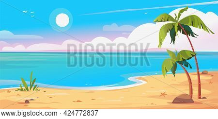 Deserted Shore Beach And Palms Banner. Beautiful Vector Illustration. Blue Sky With Sun And Sandy Sh