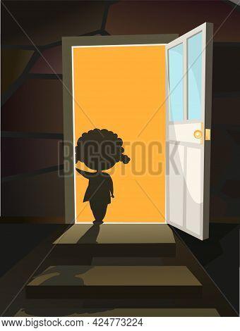 Childhood Fear. A Little Girl Peers Into A Dark Room Through An Open Door. Night. Steps To Basement.