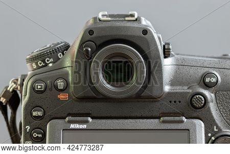 Galle, Sri Lanka - 02 17 2021:d850 Modern Full-frame Dslr Back Dials And View Finder Close Up,