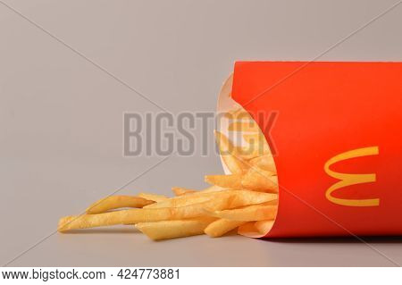 Klang, Malaysia: June 24, 2021- Mcdonald's French Fries In Paper Cup. Mcdonald's Is A Fast Food Rest
