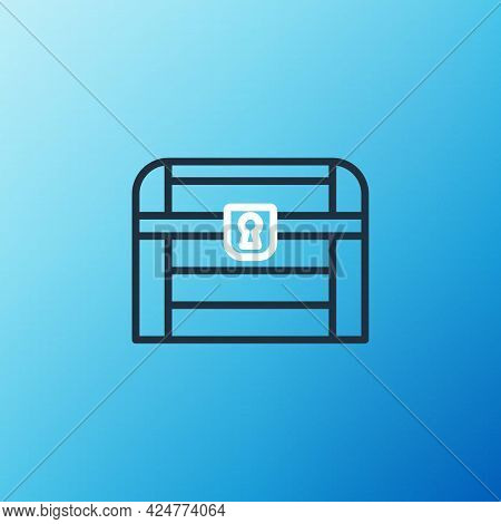 Line Antique Treasure Chest Icon Isolated On Blue Background. Vintage Wooden Chest With Golden Coin.