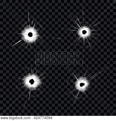 Bullet Holes On Glass. Realistic Cracked Holes On Transparent Background. Eps10 Vector.