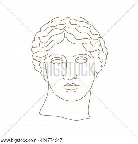 Antique Statue Head Vector Illustration In Contemporary Minimal Style