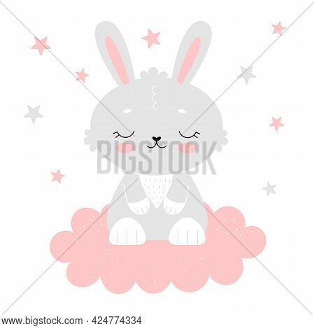 Cute Gray Bunny On A Pink Cloud. Poster For The Nursery, Postcard, Nursery Decoration. Children's Il